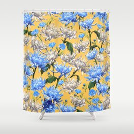 Mums Pattern  |  Yellow-Blue-Cream-White Shower Curtain