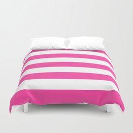 Rose bonbon - solid color - white stripes pattern Duvet Cover