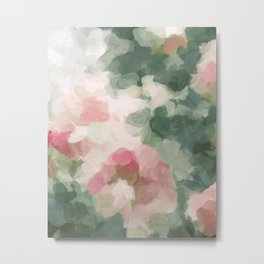 Forest Sage Green Fuchsia Pink Floral Rose Garden Abstract Flower Painting Art Print Wall Decor  Metal Print