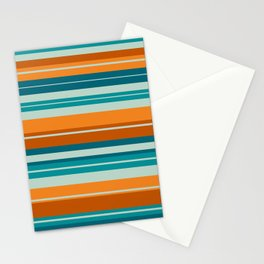 Summer Stripes Horizontal Pattern in Orange, Rust, Teal, Aqua, and Turquoise Stationery Cards