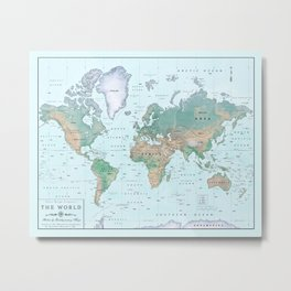 The World [Atlas] Shaded Relief Map Metal Print