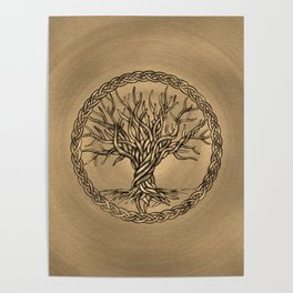 Tree of life -Yggdrasil -Sepia Canvas Poster