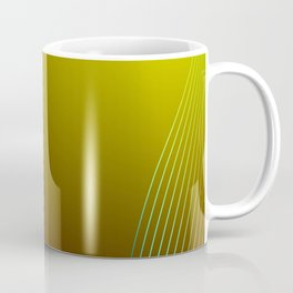 Greeting card of red and green lines on a yellow background. Coffee Mug