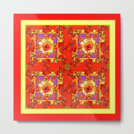 PATTERNED  RED & GOLD ART DECO ORANGE-RED POPPIES Metal Print