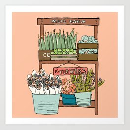 Mei's Farm Stand on Salmon Pink Art Print