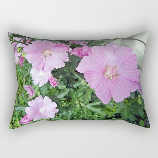 Pink Musk Mallow Bush in Bloom Rectangular Pillow
