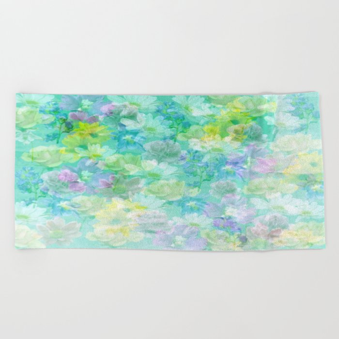 Enchanted Spring Floral Abstract Beach Towel