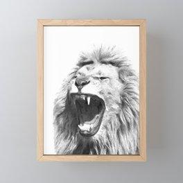 Black White Fierce Lion Framed Mini Art Print