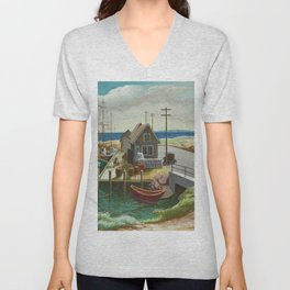 The Harbor Seaside Landscape by Thomas Hart Benton Unisex V-Neck