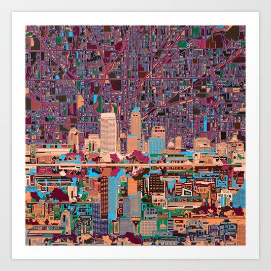 indianapolis city skyline purple Art Print