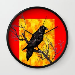 Oriental Style Red Crow Tree Art Wall Clock