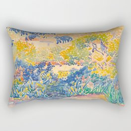 Henri-Edmond Cross Neo-Impressionism Pointillism The Artist's Garden at St. Clair Watercolor Paintin Rectangular Pillow