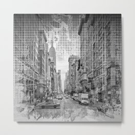 Graphic Art NEW YORK CITY 5th Avenue | Monochrome Metal Print
