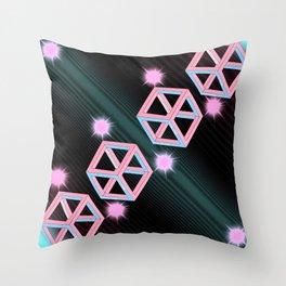 Neon Cubes Throw Pillow