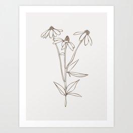 Simple Line drawing in Choco Cream, Botanical Art Wild field Flower, Art Print