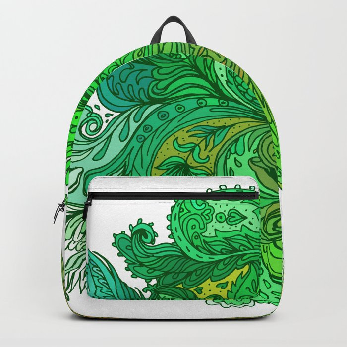 Green Floral Indian Pattern Backpack