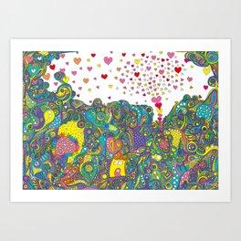 ハートのしゃぼんだま Art Print