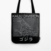 joy division Tote Bags featuring Kaiju Division by pigboom el crapo