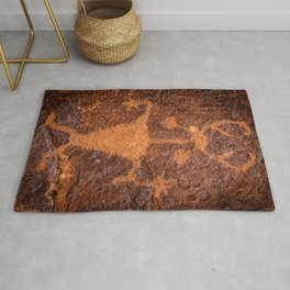Moab Man Petroglyph Portrait - Utah Rug