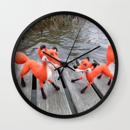 Playful Foxes On The Jetty Wall Clock