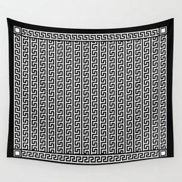 Greek Key Full - White and Black Wall Tapestry