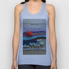 mini tapestry, weaving, Taito beach, Chiba, Japan, surf, surfing, surfing art, surf art, Unisex Tank Top