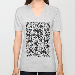 Mexican Otomi Design in Shades of Gray Unisex V-Neck