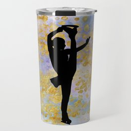 Golden Aspirations Figure Skating Watercolor Graphic Print Travel Mug