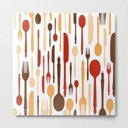 Vintage Wood Kitchen Fork Spoon Knife Metal Print
