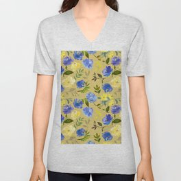 Modern lilac yellow green watercolor hand painted floral Unisex V-Neck