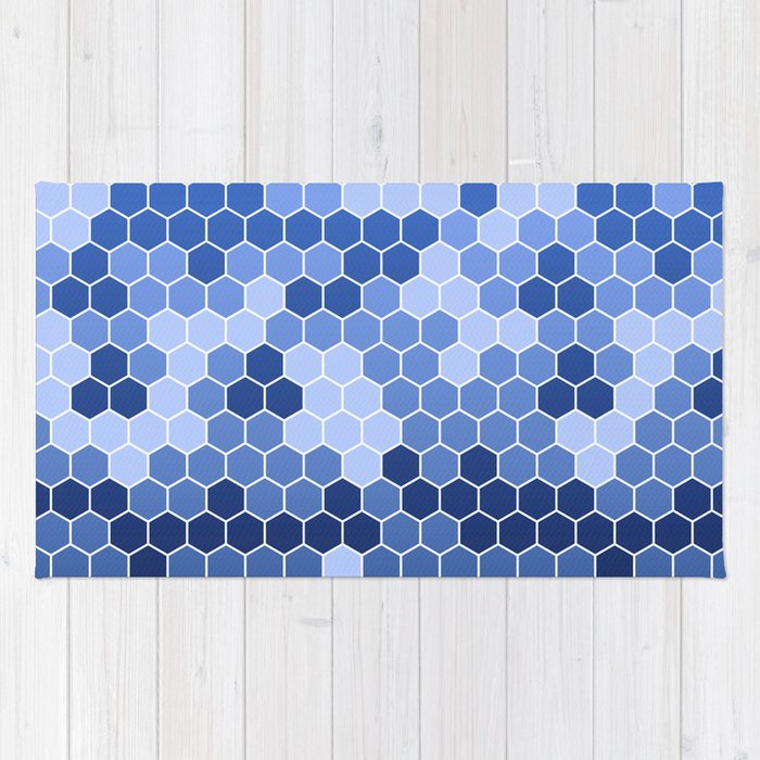Honeycomb Blue Pattern Geometric Shapes Home Decor Sapphire