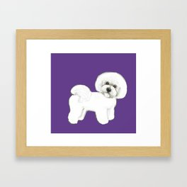 Bichon Frise dog on Ultraviolet, 2018 Bichon , Year of the dog, Pantone Ultraviolet Framed Art Print