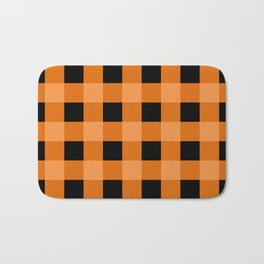 Orange and Black Buffalo Check Bath Mat