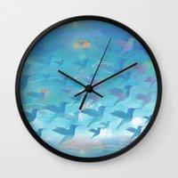 wings Wall Clocks featuring Wings by sandesign