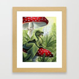 Smoking Dragon in Cannabis Leaves Framed Art Print
