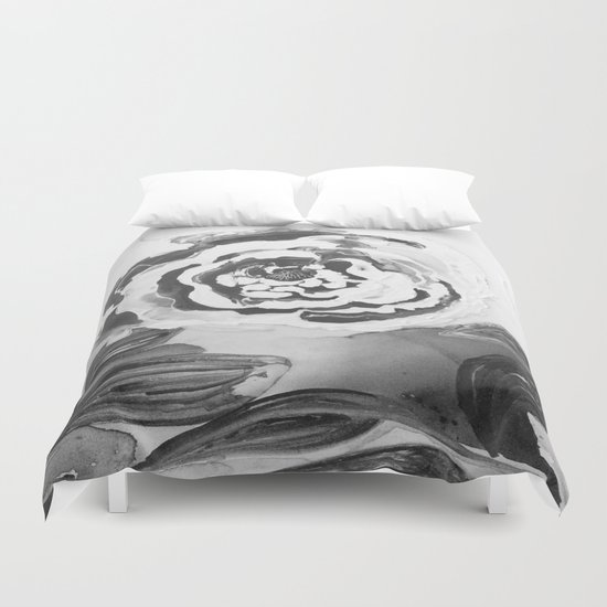 Mother's Day Roses Silver Year Black and White Duvet Cover