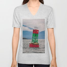 Sea lions relaxing on floating buoy in Auke Bay, Alaska Unisex V-Neck