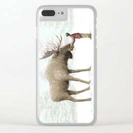 Winter Moose Clear iPhone Case