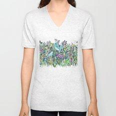 Little Garden Birds in Watercolor Unisex V-Neck