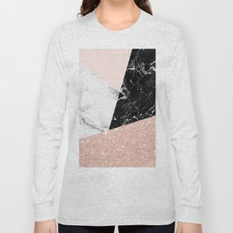 Black white marble blush pink rose gold glitter color block Long Sleeve T-shirt