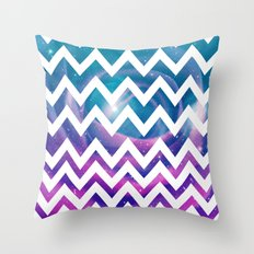 Universal Geometry - Chevron with purple and aqua galaxy  Throw Pillow