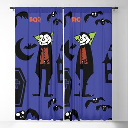 Cute Dracula and friends blue #halloween Blackout Curtain