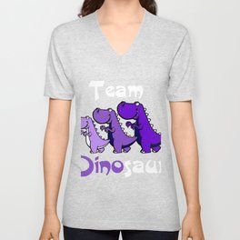 Team Dinosaur (Purple2) Unisex V-Neck
