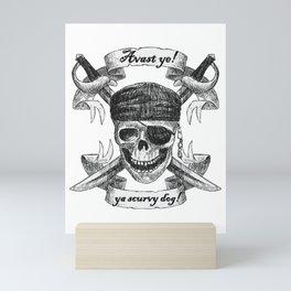 Pirate Skull and Swords, Avast Ye! Mini Art Print