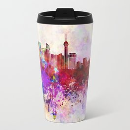 Jeddah skyline in watercolor background Travel Mug