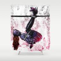 bondage Shower Curtains featuring Bondage Catwoman by lucille umali