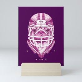 American Pug Football Purple Mini Art Print