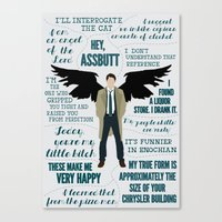castiel Canvas Prints featuring Castiel by Dorothy Leigh