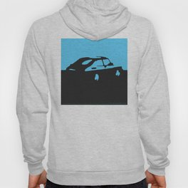 Saab 900 classic, Light Blue on Black Hoody