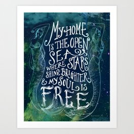 My Home is the Open Sea (Dark Night) Art Print